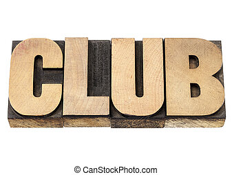 club, woord, in, hout, type