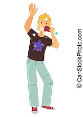 Clubber man dancing and making selfie photo vector flat icon...