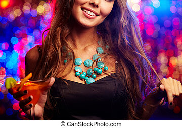 Clubber with cocktail - Image of happy girl with cocktail in...