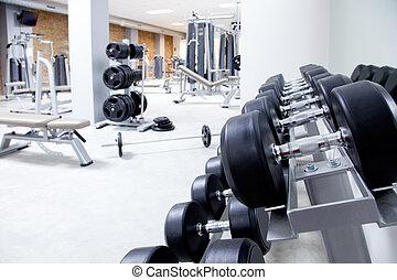 clube aptidão, treinamento peso, equipamento, ginásio
