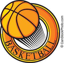 clube, basquetebol, emblema, sym, desenho