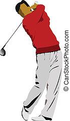 clube, bater, bola, ferro, golfer