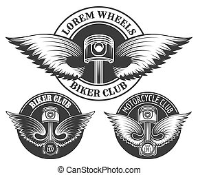 clube, biker, jogo, emblema