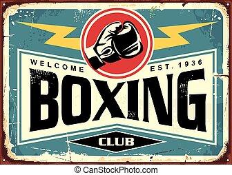 clube, boxe, sinal, lata, desenho, retro, modelo