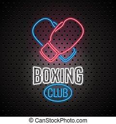 clube, boxe, sinal néon, vetorial, logotipo, ícone