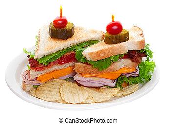 clube, branca, sanduíche