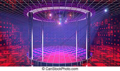clube, brilhar, olá-tecnologia, fantasia, discoteca