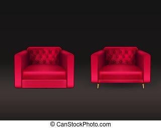 clube, cadeiras, realístico, vetorial, couro, vermelho