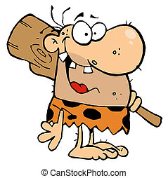 clube, caveman, feliz