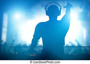 clube, discoteca, dj, tocando, e, música misturando, para,...