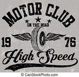 clube, emblema, projeto gráfico, motocicleta
