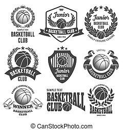 clube, emblemas, basquetebol