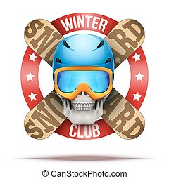 clube, etiquetas, snowboarding, logotipo, equipe, ou,...