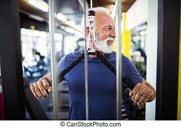 clube, ficar, saudável, saúde, maduras, exercício, homem
