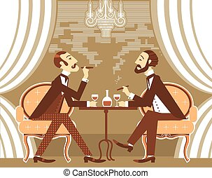 clube, fumaça, vetorial, cavalheiros, tabaco