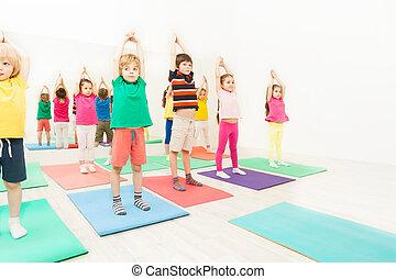 clube, ginástica, crianças, oficinas, desporto