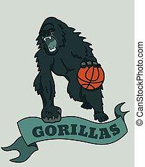 clube, gorila, basquetebol, emblema