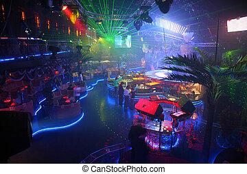 clube, interior, noturna