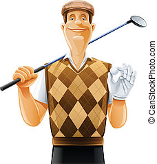 clube, jogador, bola, golfe