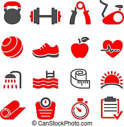 clube, jogo, condicão física, vetorial, ícones