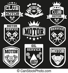 clube, jogo, sinais, motor, etiqueta