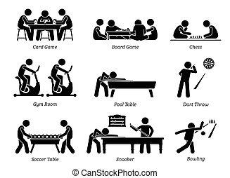 clube, jogos, recreacional, activities., indoor