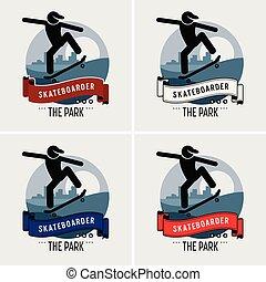 clube, logotipo, skateboarder, design.