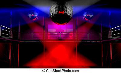 clube, luzes, discoteca, coloridos, noturna