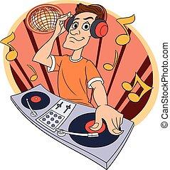 clube, música, 2, dj, tocando