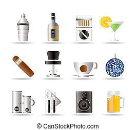 clube noite, barzinhos, e, bebida, ícones