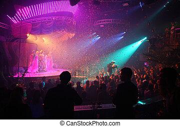 clube, noturna, celebração