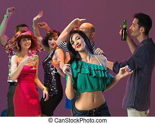 clube, noturna, excitado, dançar mulher