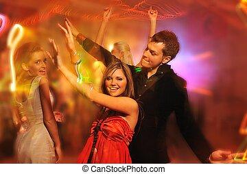 clube, noturna, pessoas, dançar