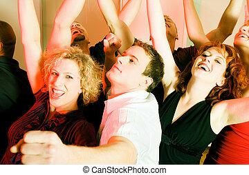 clube, pessoas, dançar