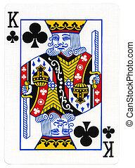 clube, rei, -, cartão jogando