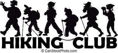 clube, sênior, hiking
