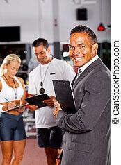 clube saúde, gerente, e, treinadores