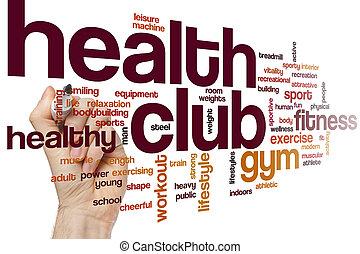 clube, saúde, palavra, nuvem