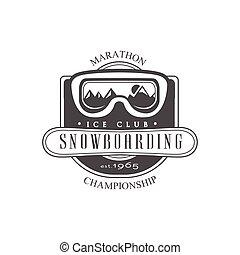 clube, snowboarding, emblema, desenho, gelo