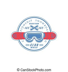 clube, snowboarding, emblema, desenho