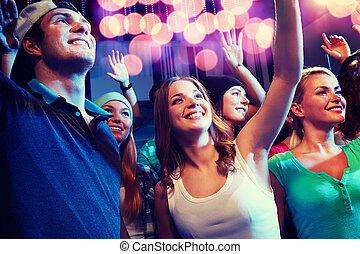 clube, sorrindo, amigos, concerto