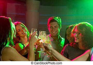 clube, sorrindo, champanhe, amigos, óculos