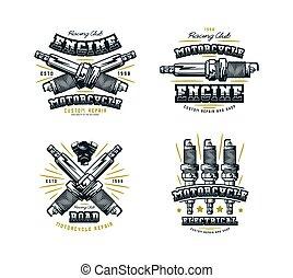 clube, t-shirt, jogo, emblema, motocicleta