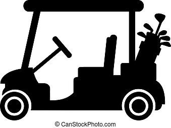 clubes, carro del golf