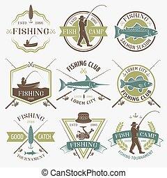clubes, emblemas, colorido, pesca