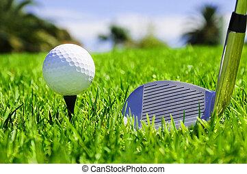 clubes, pelota, golf