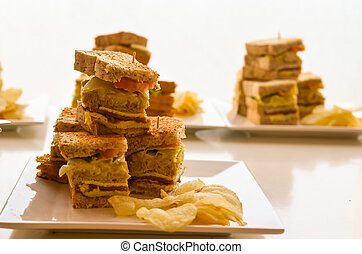 Clubhouse sandwich in side view - Photograph image of...