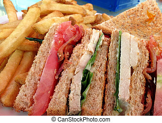 Clubhouse Sandwich - Closeup of a toasted clubhouse sandwich...