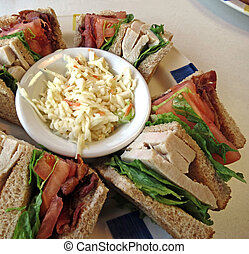 Clubhouse Sandwich - A clubhouse sandwich on whole wheat...