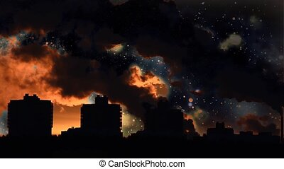 Clubs contaminated smoke above the city and SPACE. Industries in the city.